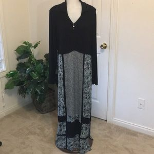 Vtg Carole Little Black/Abstract Maxi Dress SZ 12